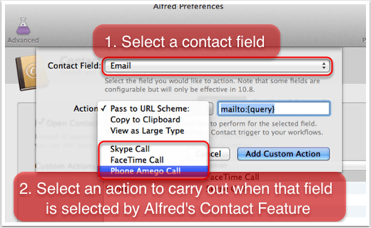 Integrate Uni-Call with Alfred's Contacts Feature